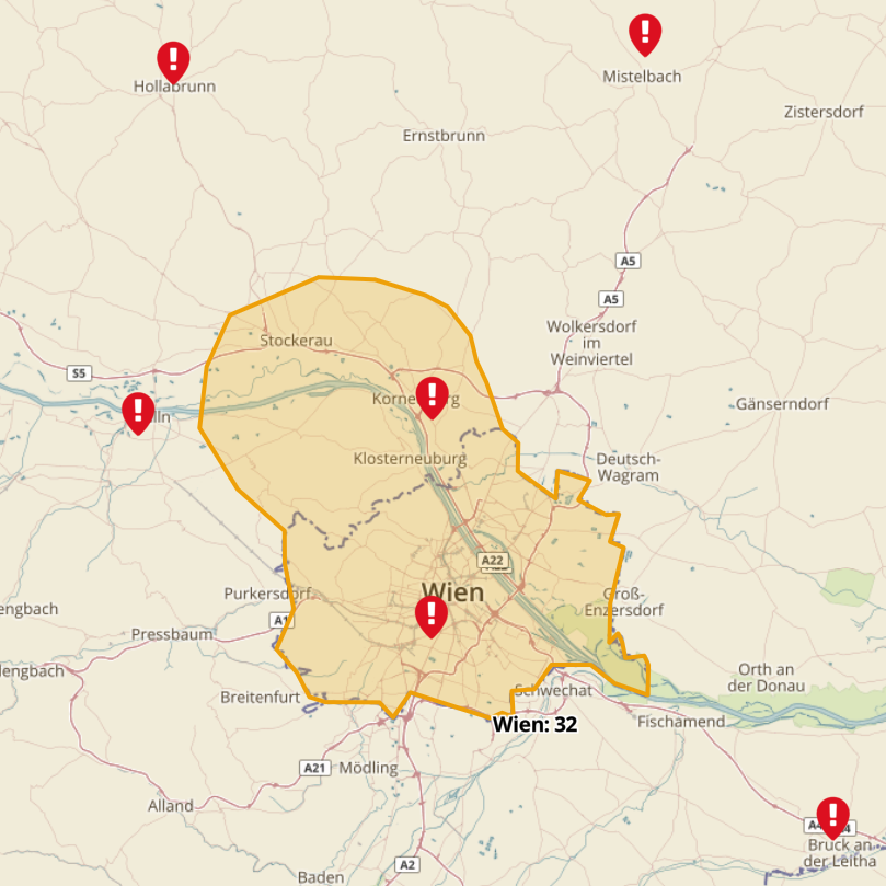 Corona Risikogebiet Wien-Korneuburg